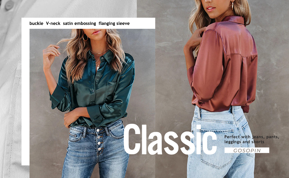Women's Satin Silk Long Sleeve Button Down Shirt Casual Work Office Silky Blouse Top