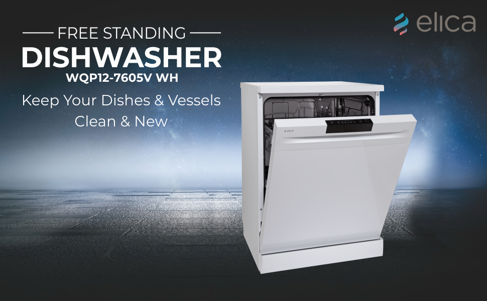 Elica 12 Place Settings Dishwasher with Soft Touch Key Control (Free Standing Dish Washer SPN-FOR1