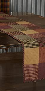 Heritage Farms Kitchen Tabletop runner primitive country rustic Americana VHC Brands quilted jute