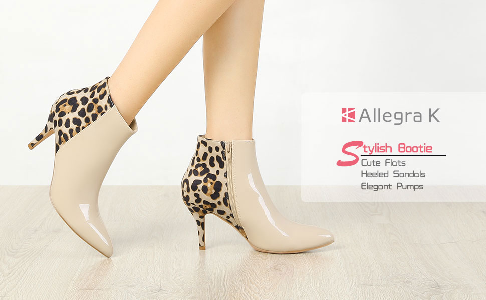 Allegra K Women's Contrast Color Leopard Print Stiletto Heel Ankle Boots