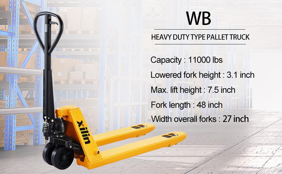 Xilin heavy duty type pallet truck hand pallet jack manual pallet truck lift height