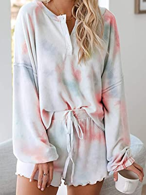 Womens Pajamas Set Loungewear Nightwear Sleepwear Tie Dye Printed Ruffle Short Long Sleeve TeePants