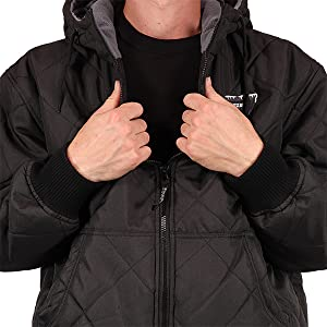 Freeze Defense Quilted Jacket is water and wind resistant that keeps snow, wind, and rain out.