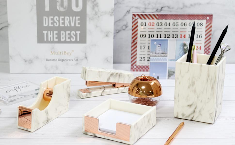 marble rose gold office supplies set pencil holder paper clip holder magnetic sticky note dispenser