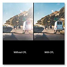 The CPL Circular Polarizing Lens Filter reduces reflection and glare windshields road sign clear