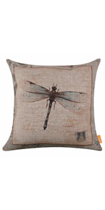 LINKWELL 4545cm Retro Vintage Dragonfly Pillow Cover