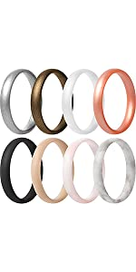 Super Thin Stackable Silicone Rings Wedding Bands