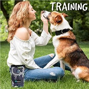 dog pet training pouch bag shoulder waist strap treat kibbles toys poop bag dispenser waste tote