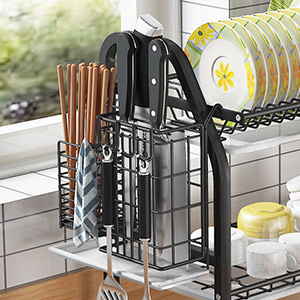 Over the Sink Dish Drying Rack - 1Easylife Adjustable 2-Tier Large Dish Dryer Rack for Kitchen