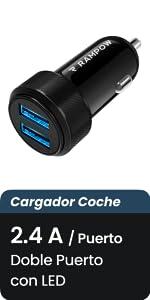 Rampow Cargador Coche Doble Puerto con LED, 24W 4.8A Cargador Móvil Coche con Carga Rápida, Cargador de Coche para Teléfonos y Tabletas, iPhone, ...