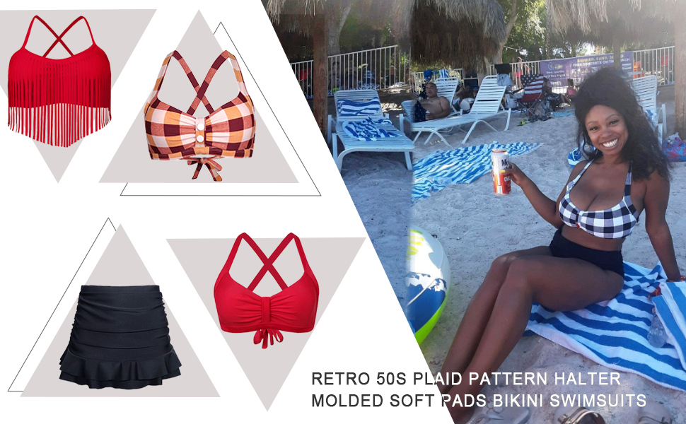 Balasami Womens Retro Button Down Gingham Printed Ajustable Straps Cross Back Vintage Swimsuit Top