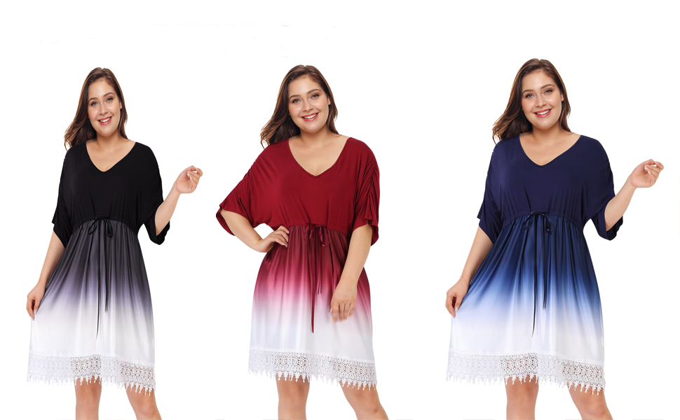Women V Dress Knee Casual Dress Beach Babydoll Dress Blue Color Block Gradient Short Sleeve Ruffle Lace Dress