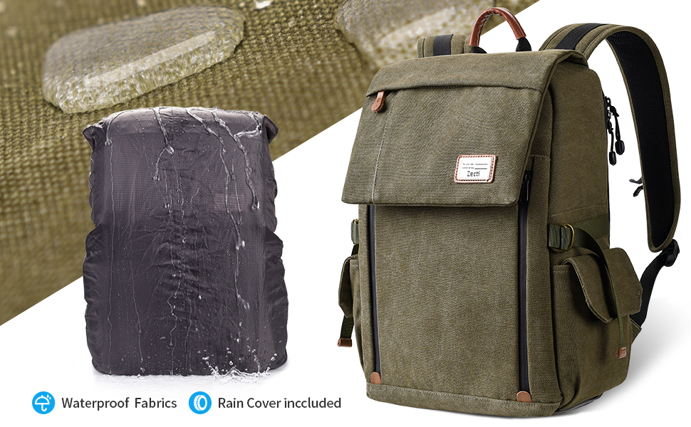 waterproof camera backpack with rain cover