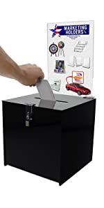 Marketing Holders Black Ballot Box 12x12 Suggestion Box with Removable Full Page Sign Holder