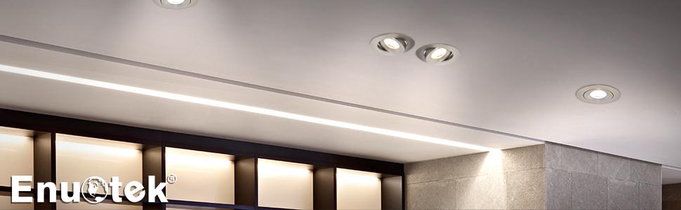 2,5 Pouces Petit Lampes Spots a Encastrer LED Encastrable Plafond 7W Directionnel M/étal Couleur Blanc Froid 5000K Trou Diam/ètre 70-75MM AC100~240V Lot de 6 de Enuotek