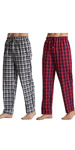 2 Pack Mens Checked Pyjamas Bottoms