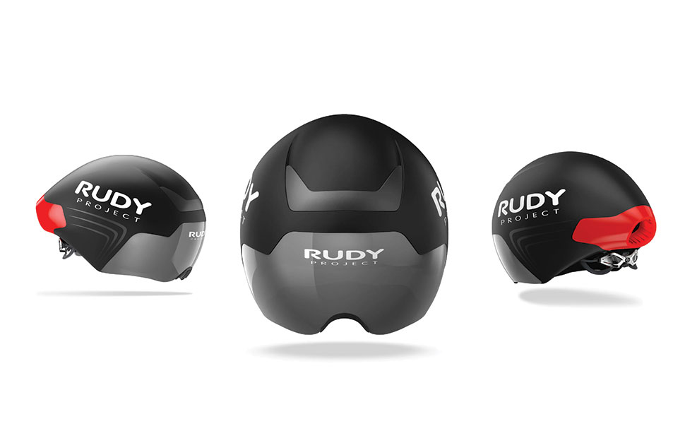 black Rudy Project Wing Aero Helmets on white background shown at three different angles