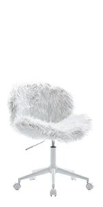 white fuzzy chair