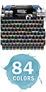 84-Color Ready to Pour Acrylic Pouring Paint Set with Silicone Oil amp; Gloss Medium