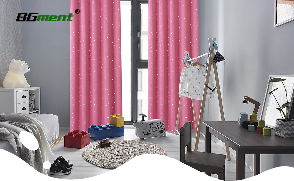 Amazon.com: BGment Pink Star Blackout Curtains for Kid's ...