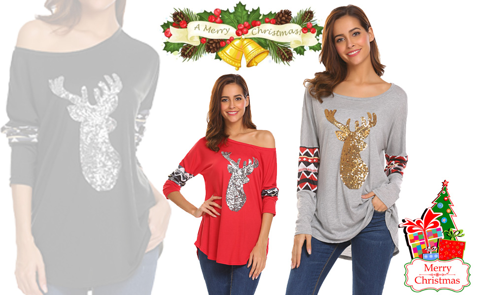 Womens Christmas V Neck Sequin T-shirt Ladies Long Sleeve Casual Blouse Top Tee