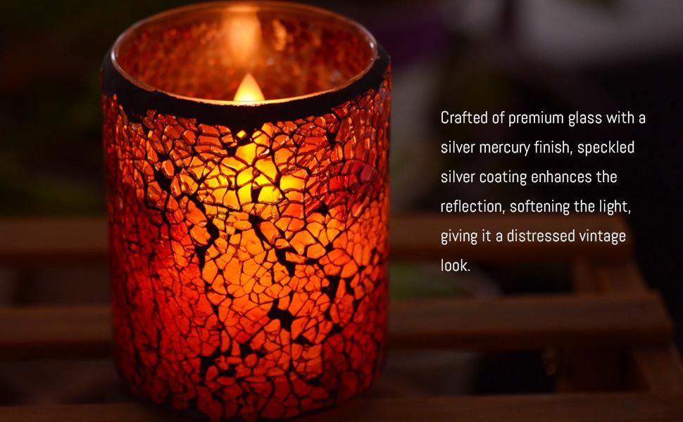 mosaic flameless candle