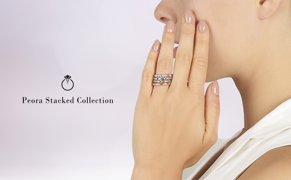 Peora Sterling Silver Stackable Ring in Created or Simulated Gemstones 2.30mm Contoured Band