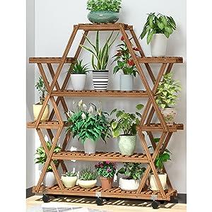 Bamboo plant stand shelf mini desk small indoor work planter succulent rack display office 2 tier