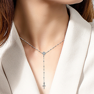 Rosary Necklace White Gold Model Image_300x300
