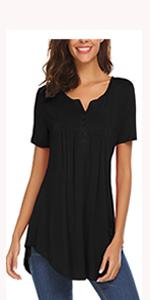 womens tops and blouses short sleeve t shirt pleated shirt henley v neck shirt summer tunic tops