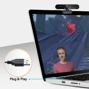 HD 1080P VESMATITY Webcam with Microphone