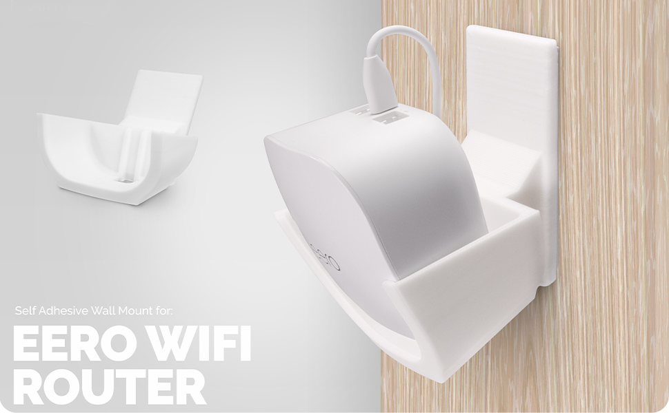 Screwless Wall Mount for Eero Mesh WiFi Holder, Tilted for Max Reception,