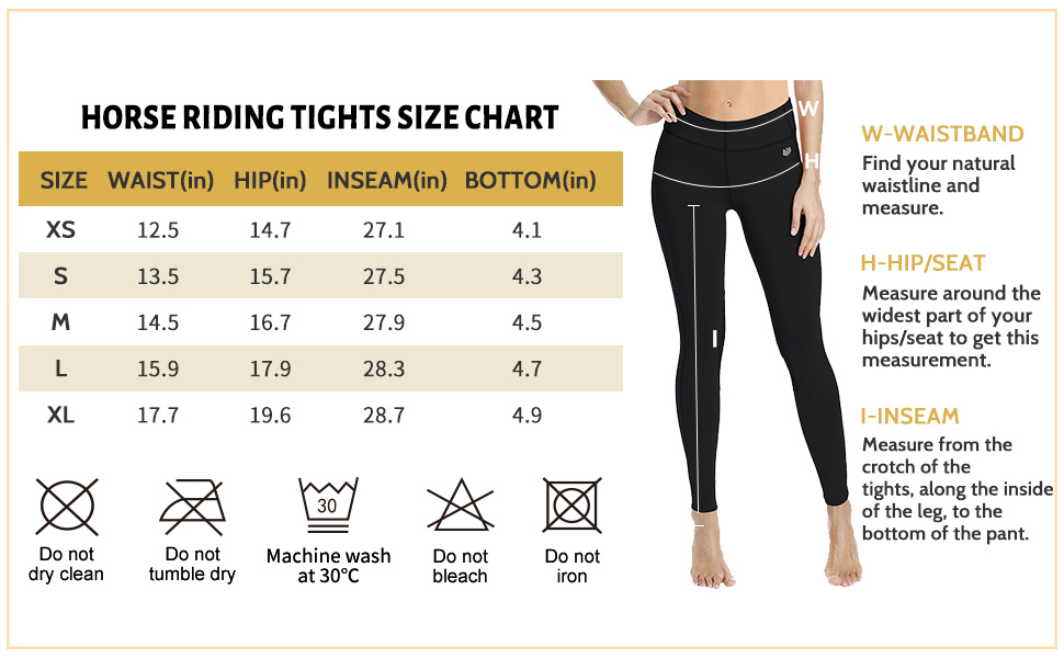 women horse riding tights size chart
