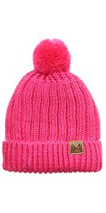 MIRMARU Women's Oversized Chunky Soft Warm Rib Knit Pom Pom Beanie Hat with Sherpa Lined