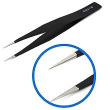 precision tweezers, tweezer, steel tweezer, antistatic, sharp point, smartphone repair, tabletrepair
