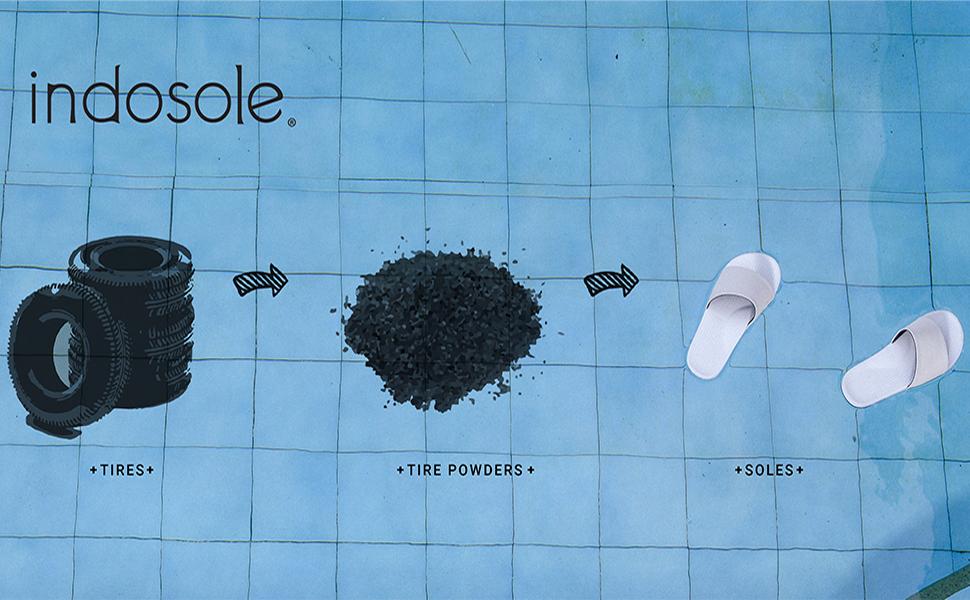 indosole, flip flops, tires