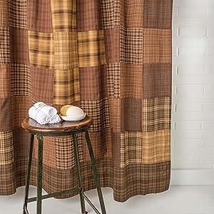 Prescott Shower Curtain primitive country rustic Americana VHC Brands bath patchwork lined cotton