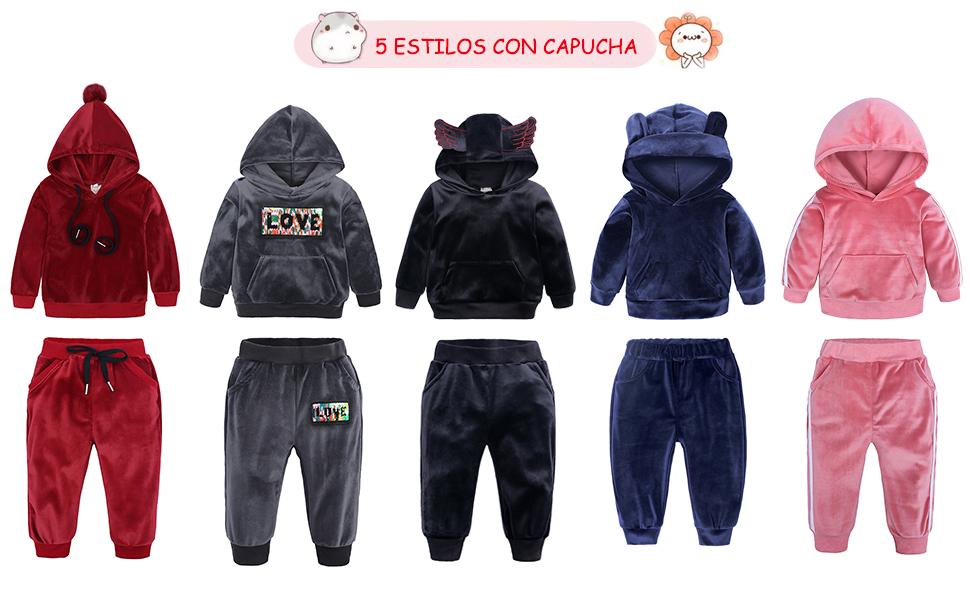 VEVESMUNDO Conjunto Chándal Niña Invierno Otoño Sudaderas y ...