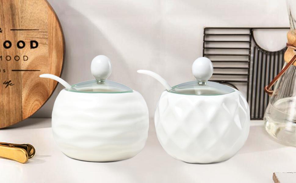 Stylish Aluminium White Metal Ribbed Lidded Pot Sugar Bowl Kitchen Storage Retro