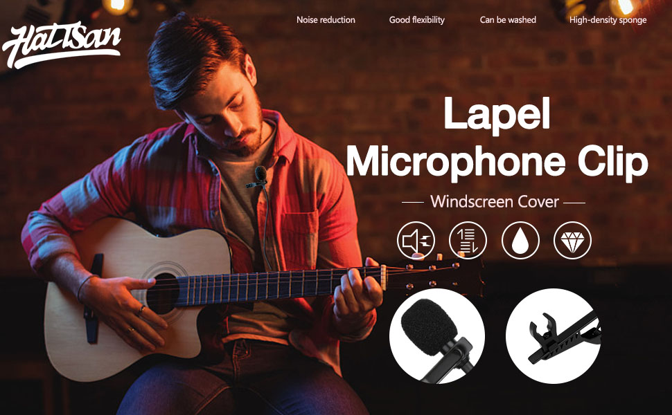 Lavalier Microphone Replacement with 6Pcs Foam Windscreen Cover