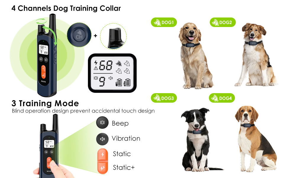NVK Dog Training Collar - Rechargeable Shock Collars for Dogs with Remote
