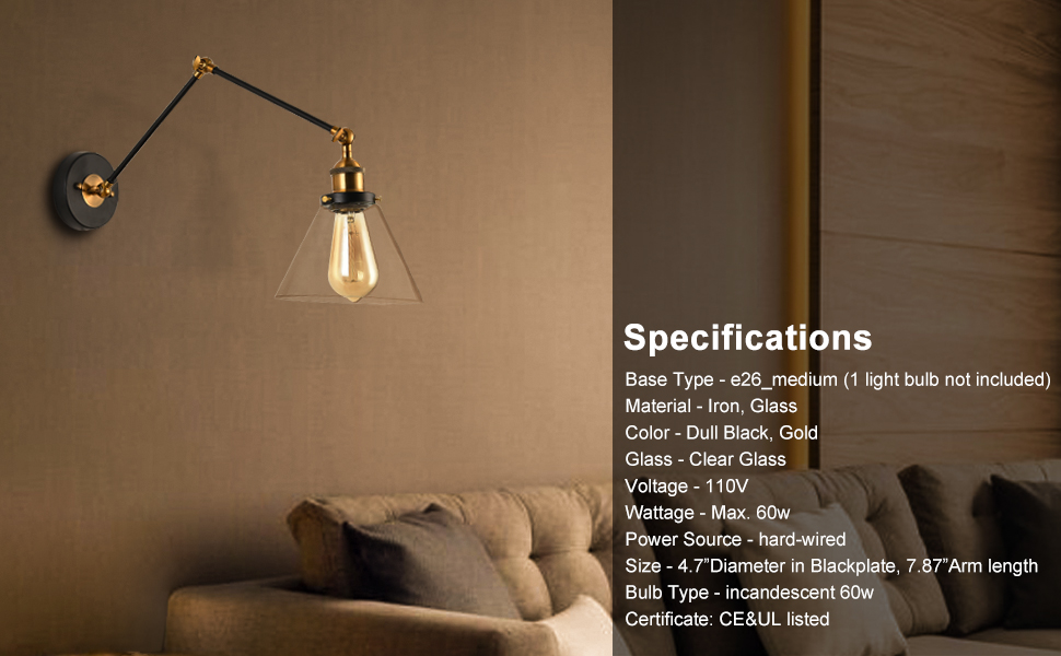 wall lamp with glass shade