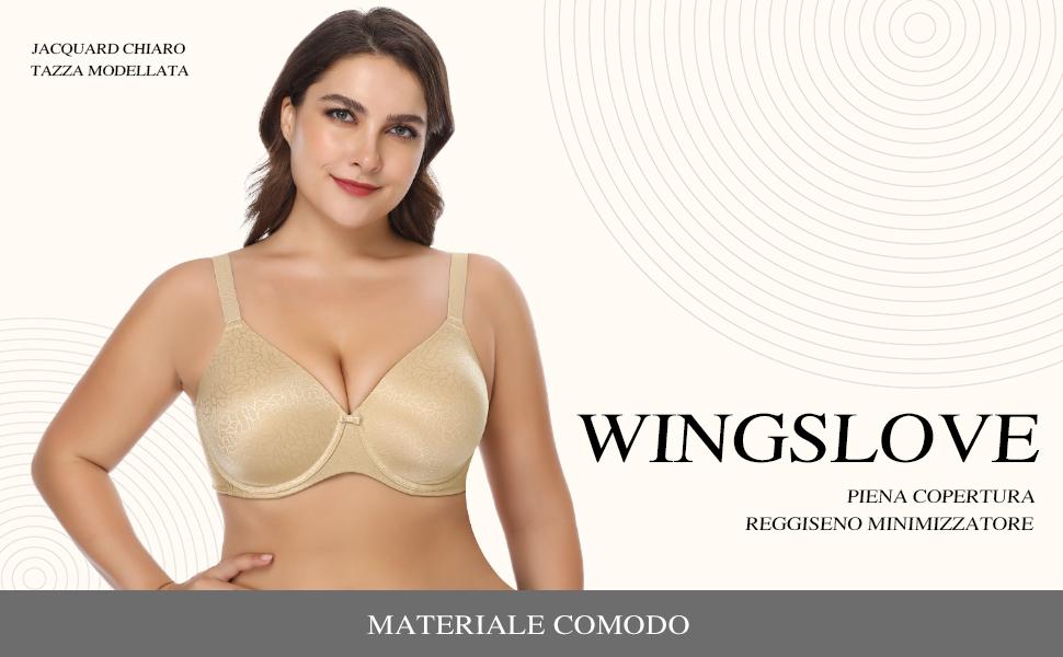 Wingslove Donna Reggiseno Minimizer Senza Imbottito Senza Ferretto Taglie Forti