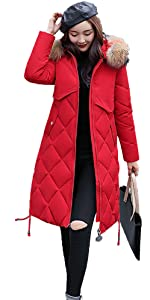 Down Coat Filled Red