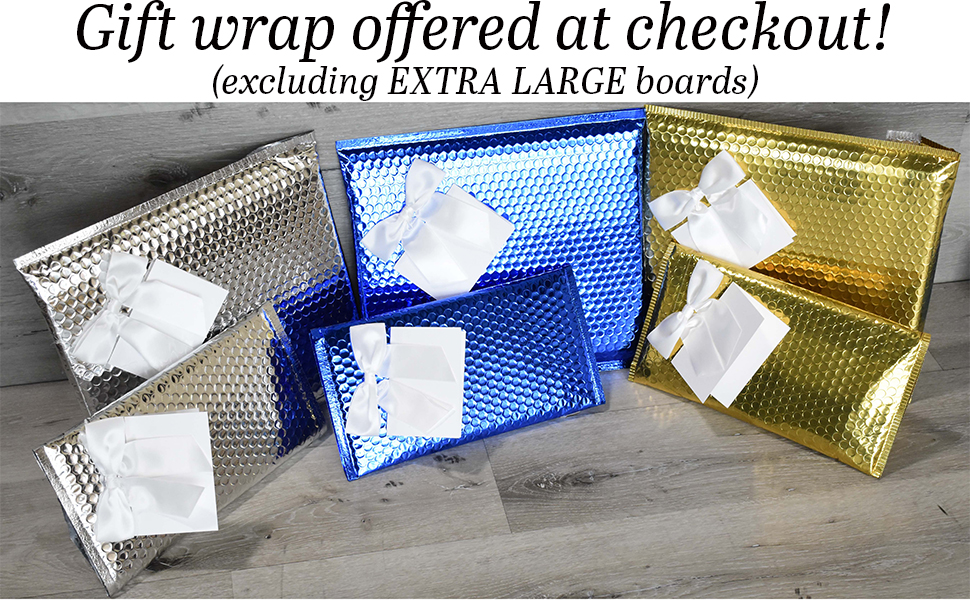 Gift wrapping options for most cutting boards showing the board in siler blue and gold wrap