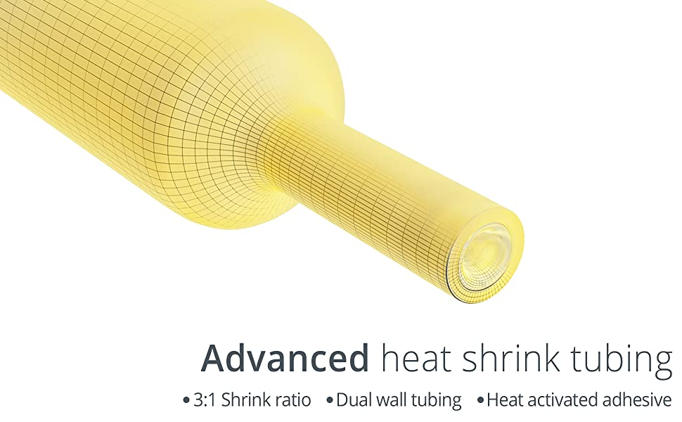 Marine grade heat shrink connectors advanced tubing 1:3 ratio hot melt activated adhesive dual wall