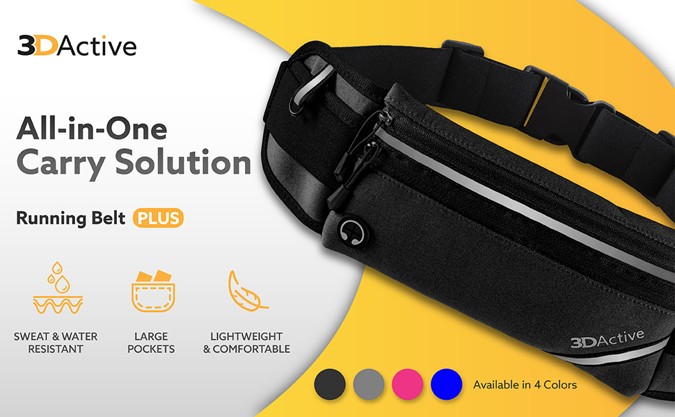 Running Belt Plus. All-in-one carry solution. Water resistant. Large pockets. Lightweight.