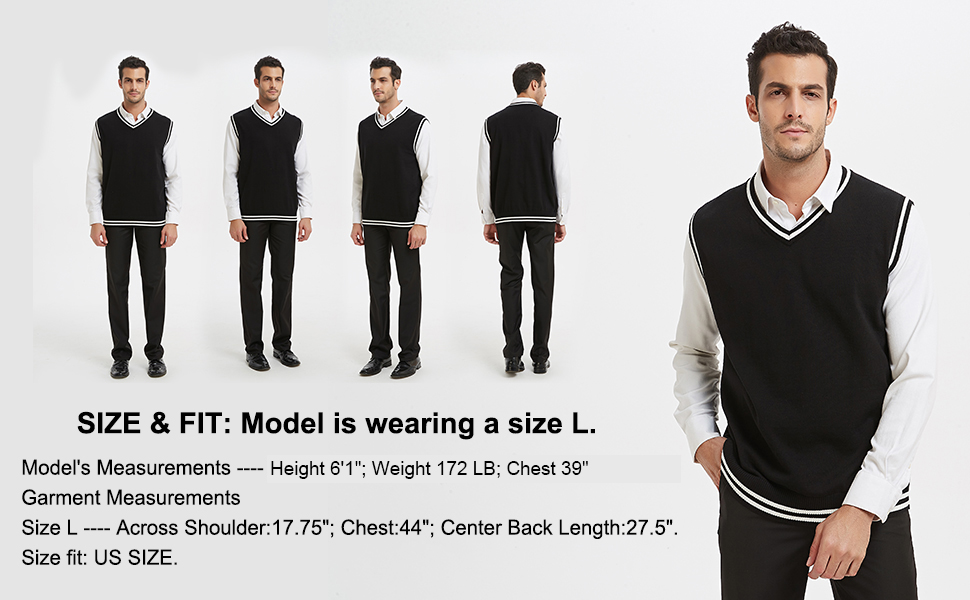 TOPTIE Mens Sweater Vest, Black and White Trimmed V Neck