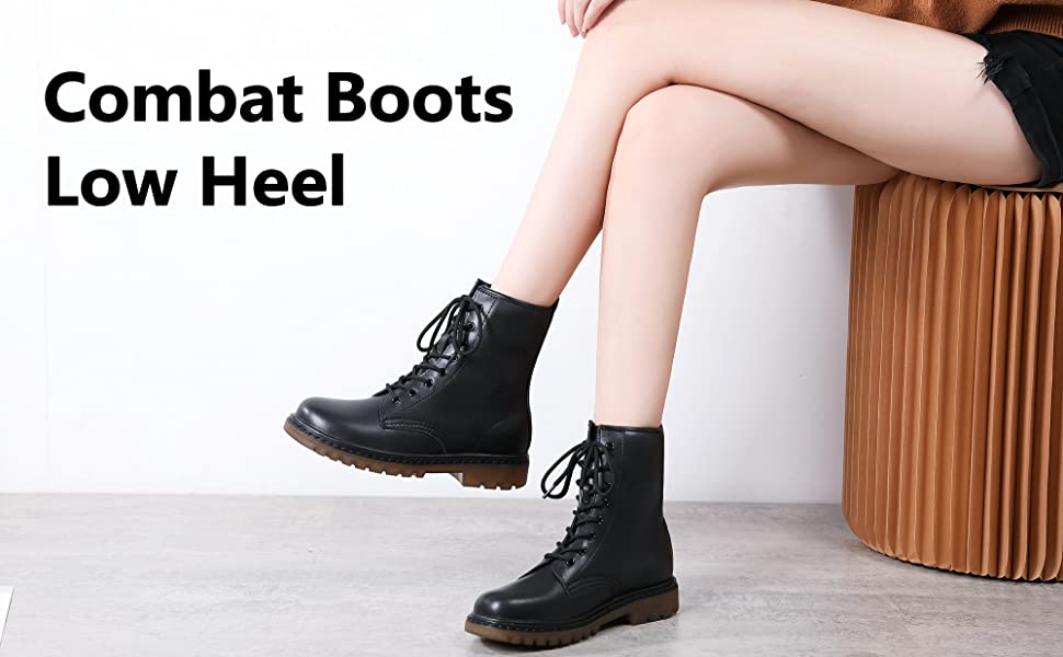 Women genuine leather chelsea boots work combat ankle Boots fall autumn spring boots leather platform chanky soles military lace up  booties