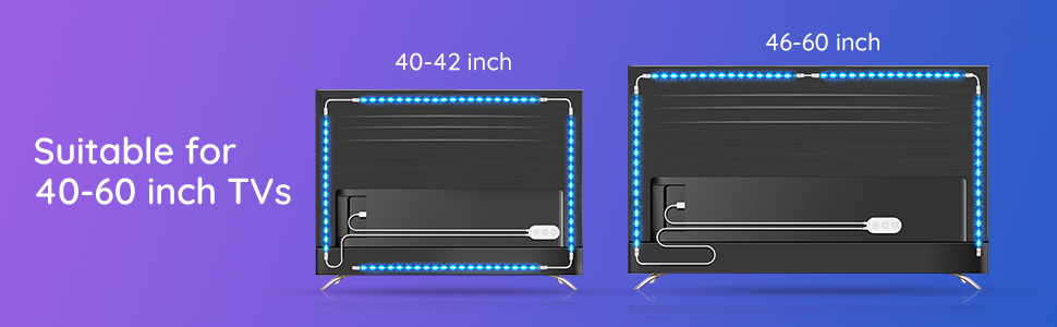 one step easy installation usb tv backlight with 3M double sides adhesive free support clips 4 sides